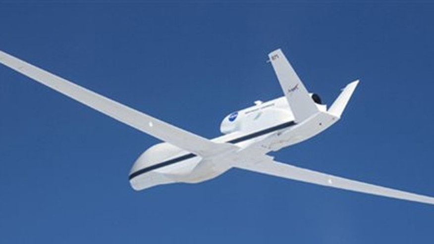 Sept. 3, 2013: NASA's Global Hawk 871 departed from the runway at NASA's Wallops Flight Facility in Wallops Island, Va.