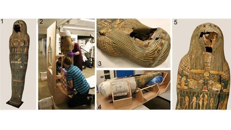 Images 1 and 3 show the cartonnage of Hor before treatment. In image 2, David Knowles, Sophie Rowe and Andor Vince position the cartonnage in the purpose-built frame. Image 4 shows the cartonnage of Hor suspended upside-down in the frame and image 5 is the restored product.