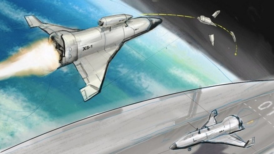 Artist's concept of DARPA's Experimental Spaceplane (XS-1), a proposed unmanned, hypersonic vehicle that the agency hopes will lower satellite launch costs substantially. Officials are targeting Mach 10 for the suborbital vehicle.