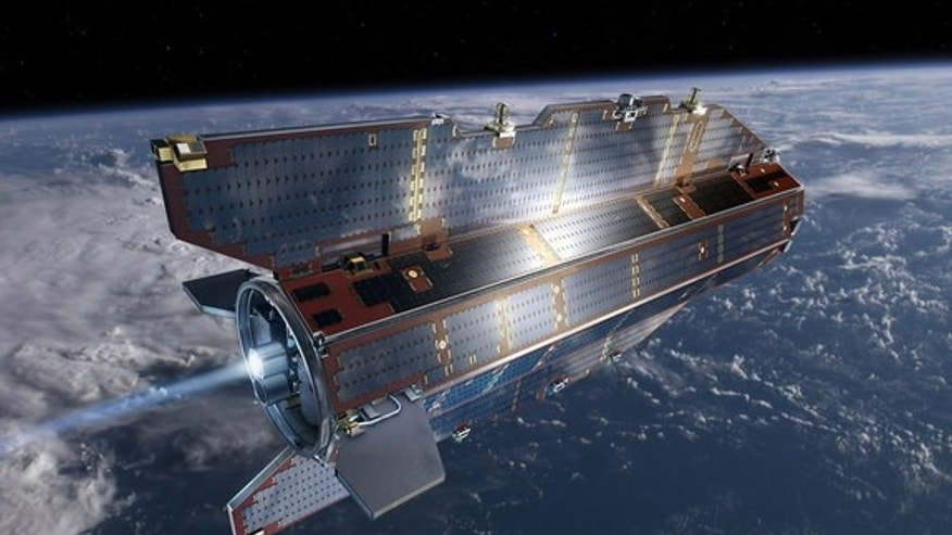 Artist's conception of the European Space Agency's Gravity field and steady-state Ocean Circulation Explorer (GOCE) satellite in orbit. The $450 million satellite launched in 2009 to study Earth's gravity field in unprecedented detail and will