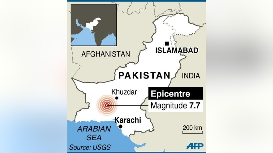 Map locating the area of a strong earthquake in Pakistan.