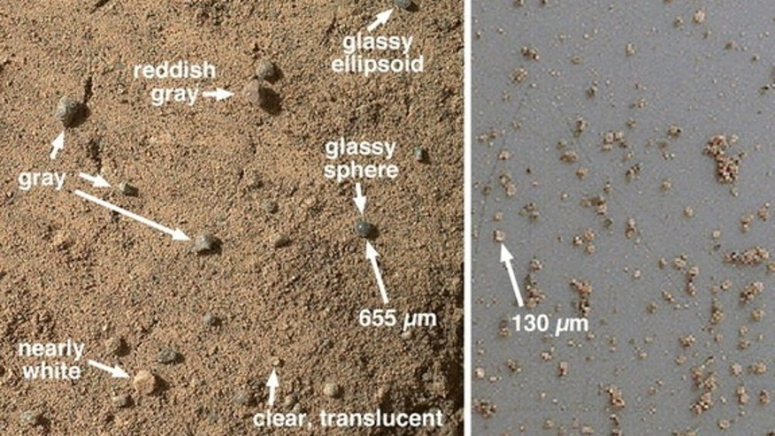 At left, a closeup view of the Mars rock target Rocknest taken by the Curiosity rover showing its sandy surface and shadows that were disrupted by the rover's front left wheel. At right, a view of Mars samples from Curiosity's third dirt scoop