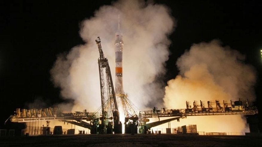 September 26, 2013: The Soyuz-FG rocket booster with Soyuz TMA-10M space ship carrying a new crew to the International Space Station, ISS, blasts off at the Russian leased Baikonur cosmodrome, Kazakhstan, Thursday.