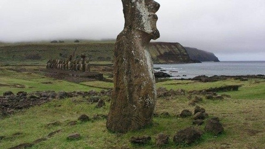 Chemical analyses of teeth from 41 human skeletons excavated on Easter Island revealed the inhabitants ate rats rather than seafood; Here, Moai statues at Ahu Tongariki on the south-eastern part of the island, where 26 of the skeletons were fou