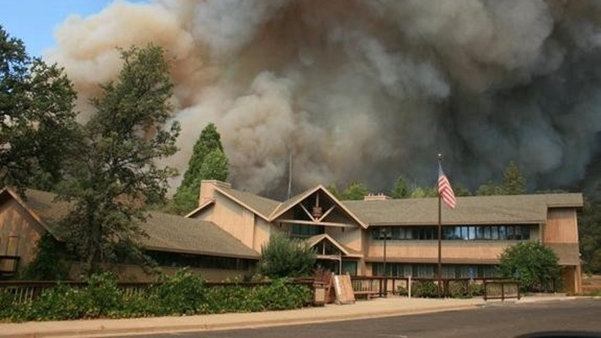 The Rim Fire approaches the Groveland Ranger Station in August 2013.