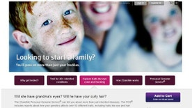 The homepage for 23andMe, a company that offers to test your DNA to scan for heritable diseases.