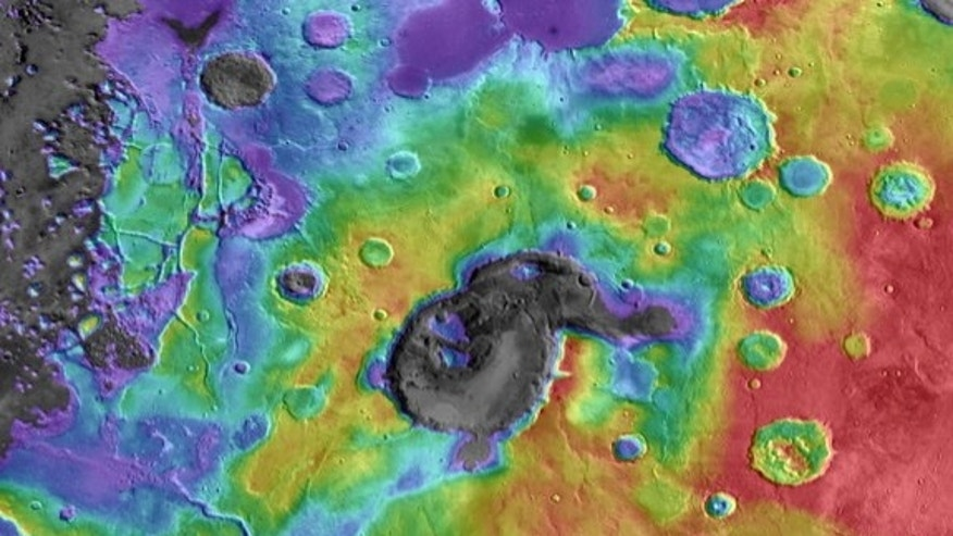This image shows digital elevation data overlaid on daytime thermal infrared images of Eden Patera, the type example of an ancient supervolcano on Mars. Red colors are relatively high and purple-gray colors are low. Image released Oct. 2, 2013.
