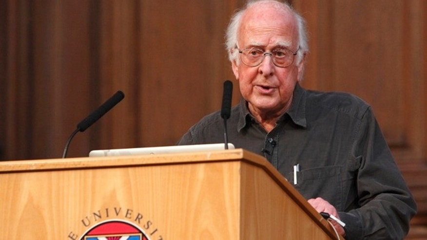 This June 2013 photo released on Tuesday Oct. 8, 2013 by the University of Edinburgh shows British physicist Peter Higgs speaking at the University of Edinburgh, Scotland. Francois Englert and Peter Higgs were awarded the 2013 Nobel Prize in physics on Tuesday Oct. 8, 2013.