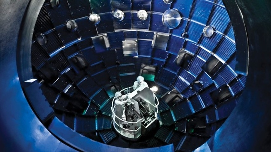 A service system lift allows technicians to access the target chamber interior at the National Ignition Facility for inspection and maintenance.