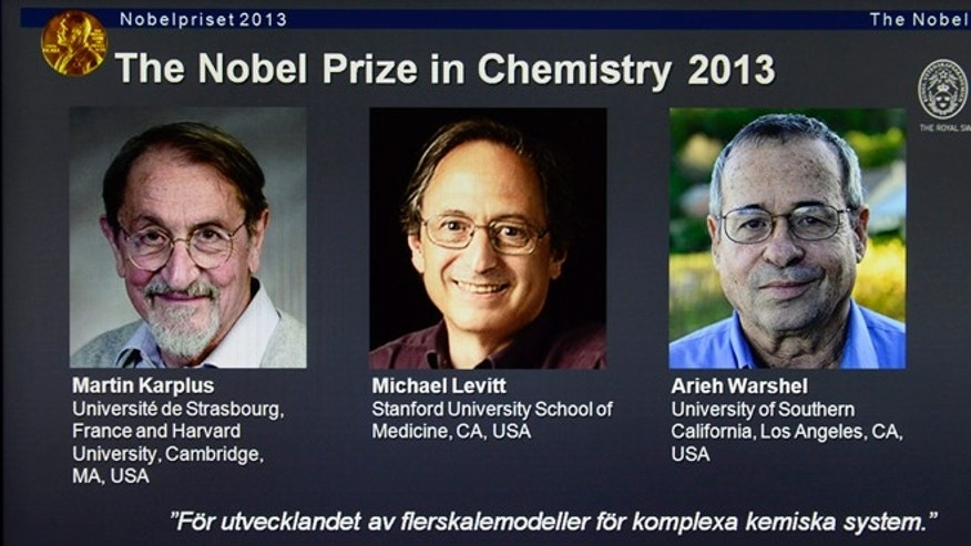 Oct. 9, 2013: A webpage shows the laureates Martin Karplus, Michael Levitt and Arieh Warshel as winners of the 2013 Nobel Prize in chemistry, announced by the Royal Swedish Academy of Sciences in Stockholm.