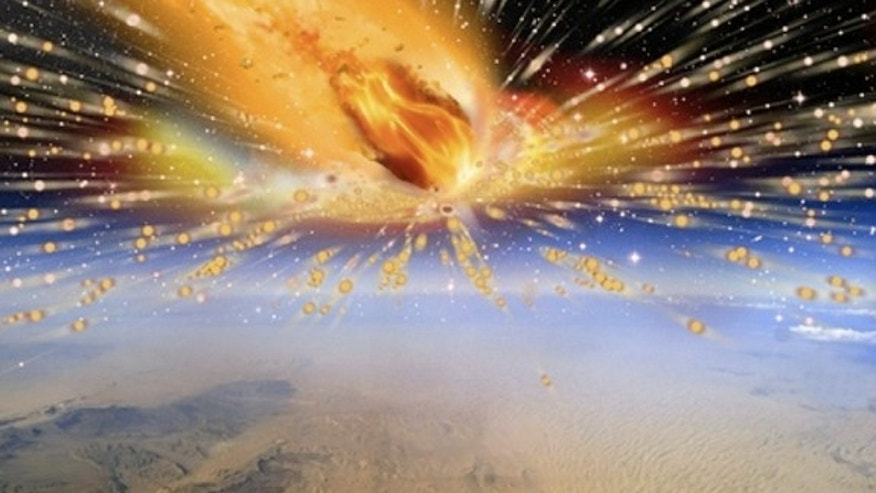 An artist's rendition of the comet exploding in Earth's atmosphere above Egypt 28 million years ago.