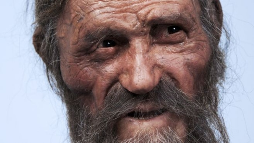 "A reconstruction of Otzi the Iceman -- a remarkably well preserved 5,300-year-old mummy sometimes lovingly called ""Frozen Frit"" -- created by Dutch forensic experts."