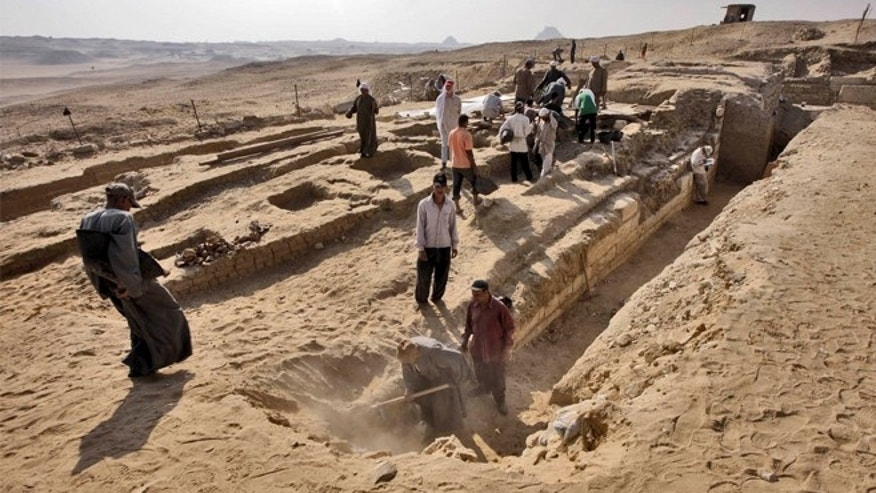 The excavations at the Abusir Archaeological Cemetery at Giza.