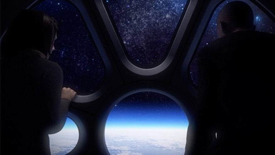 Artist's impression of passengers looking down on Earth inside the World View balloon capsule at 19 miles high.