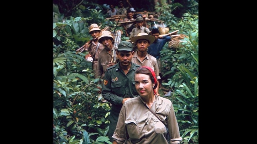 Martha Talbot in 1964, leading  an expedition into an unexplored part of Indonesia.