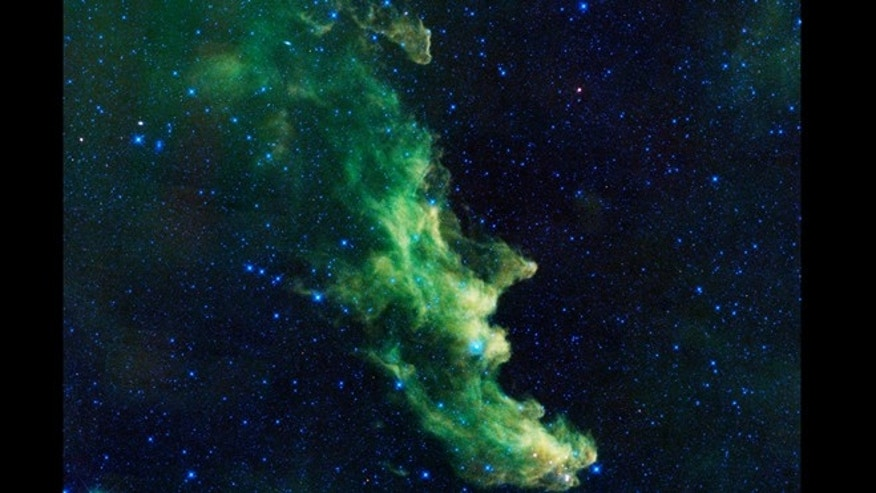 A witch appears to be screaming out into space in this new image from NASA's Wide-Field Infrared Survey Explorer, or WISE.