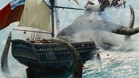 "The Kraken destroys the Edinburgh Trader in the film, ""Pirates of the Caribbean: Dead Man's Chest."""