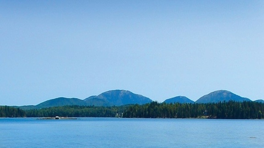 Mount Desert Island in Maine's Acadia National Park as seen from across the Mount Desert Narrows.