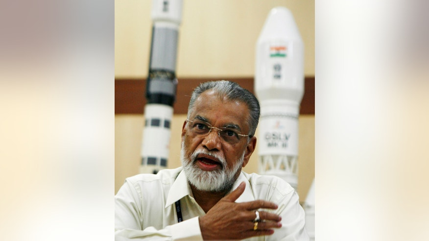 Oct. 30, 2013: Indian Space Research Organization (ISRO) Chairman K. Radhakrishnan addresses the media about the Mars orbiter mission at the Satish Dhawan Space Center at Sriharikota, in the southern Indian state of Andhra Pradesh.