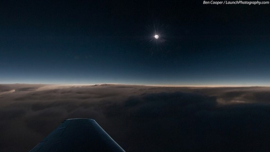Veteran space photographer Ben Cooper captured this spectacular aerial view of the 2013 total solar eclipse from an eclipse-chasing airplane during the rare hybrid solar eclipse of Nov. 3, 2013. The photo was taken from 43,000 feet over the Atl