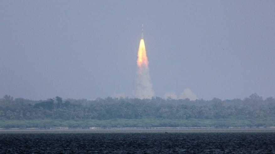 Nov. 5, 2013: The Polar Satellite Launch Vehicle (PSLV-C25) rocket lifts off carrying India's Mars spacecraft from the east coast island of Sriharikota, India. The 3,000-pound Mangalyaan orbiter was headed first into an elliptical orbit around Earth, after which a series of technical maneuvers and short burns will raise its orbit before it slingshots toward Mars.