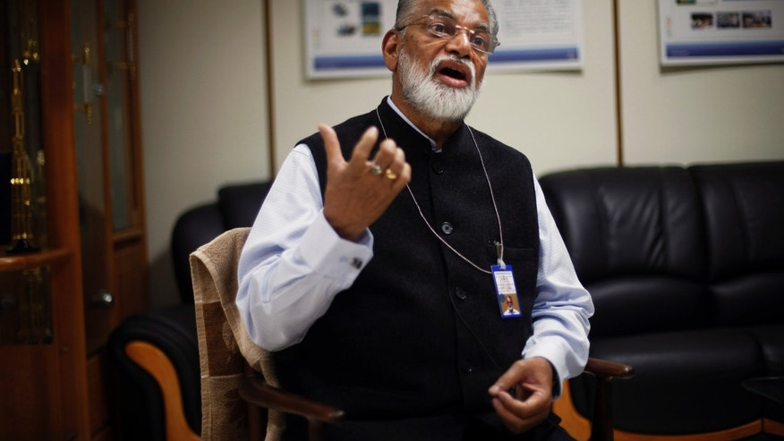 Oct. 31, 2013: Chairman of the Indian Space and Research Organization (ISRO) K. Radhakrishnan speaks during an interview at his office in New Delhi, India.