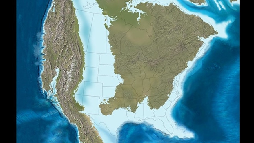 North America was covered by a shallow inland sea 80 million years ago that separated the East and West Coast.