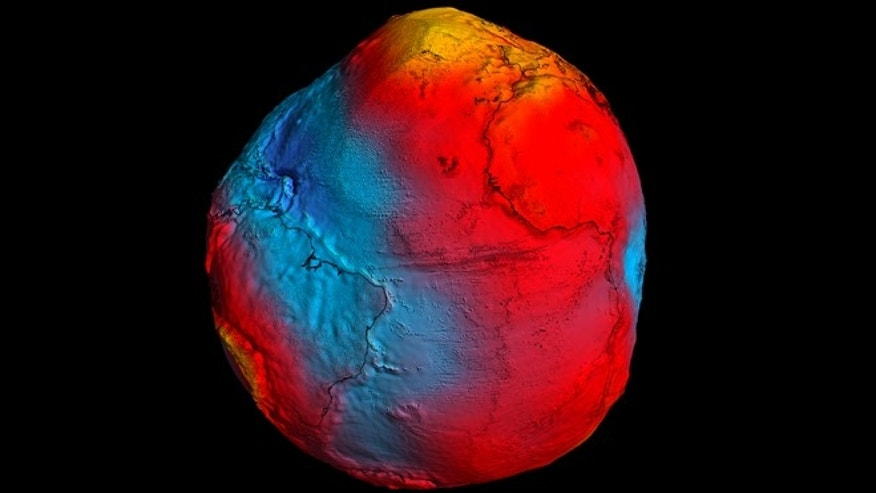 A precise model of Earth's 'geoid' -- essentially a virtual surface map of where water does not flow from one point to another -- is crucial for deriving accurate measurements of ocean circulation and sea-level change. In this map from GOCE, colors represent deviations in height (100 m to +100 m) from an ideal geoid.