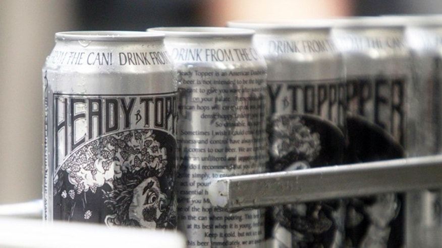 Sept. 4, 2013: Cans of Heady Topper roll off the line at the Alchemist Cannery in Waterbury, Vt.