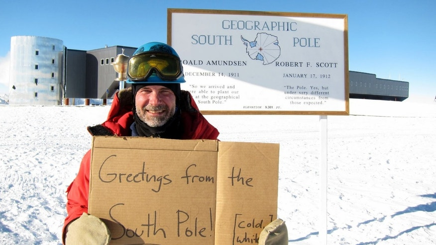 A researcher offers a hello and a weather forecast from the South Pole, where conditions are cold, white and bright.