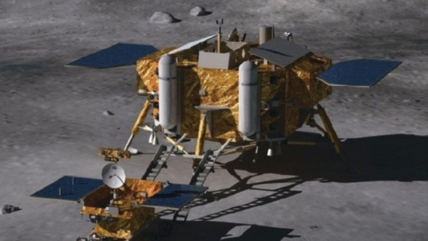 The Chang'e 3 lunar lander and moon rover is part of the second phase of China's three-step robotic lunar exploration program.