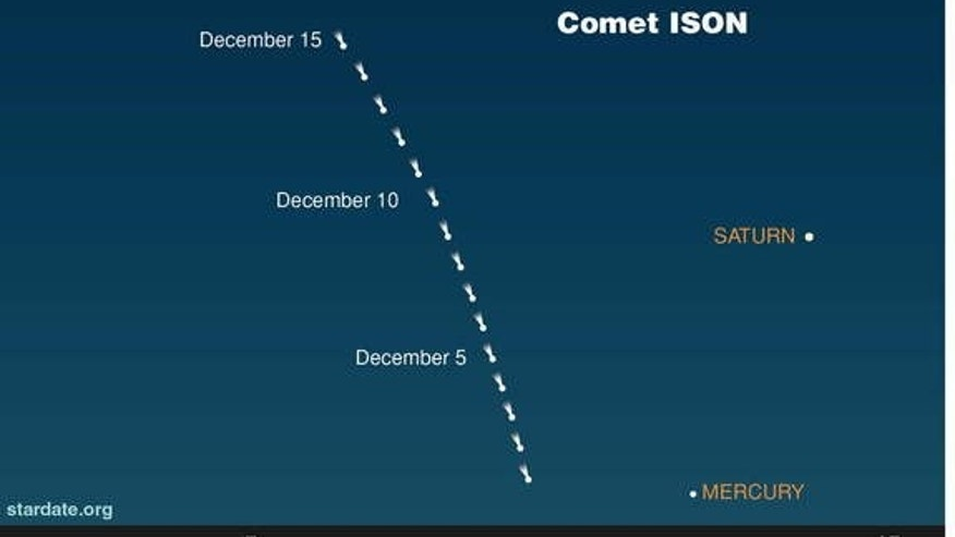 Comet ISON's position in December 2013 is shown on this sky map.