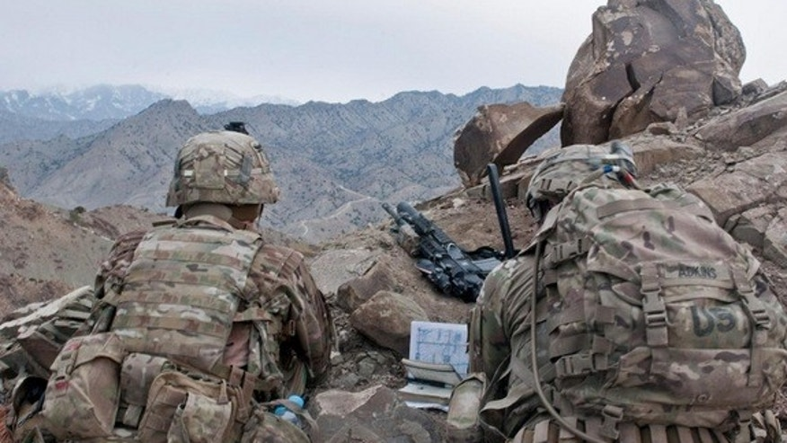 U.S. Army officers scan a distant ridgeline during a patrol in Paktya province in Afghanistan on Feb. 13, 2013.