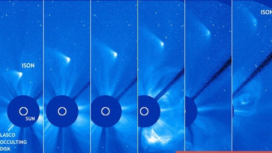 Sequence of observations by SoHOs LASCO instrument of Comet ISON post-perihelion.