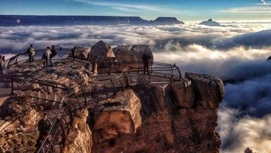 The Grand Canyon, filled with fog, in a rare weather event called a temperature inversion.