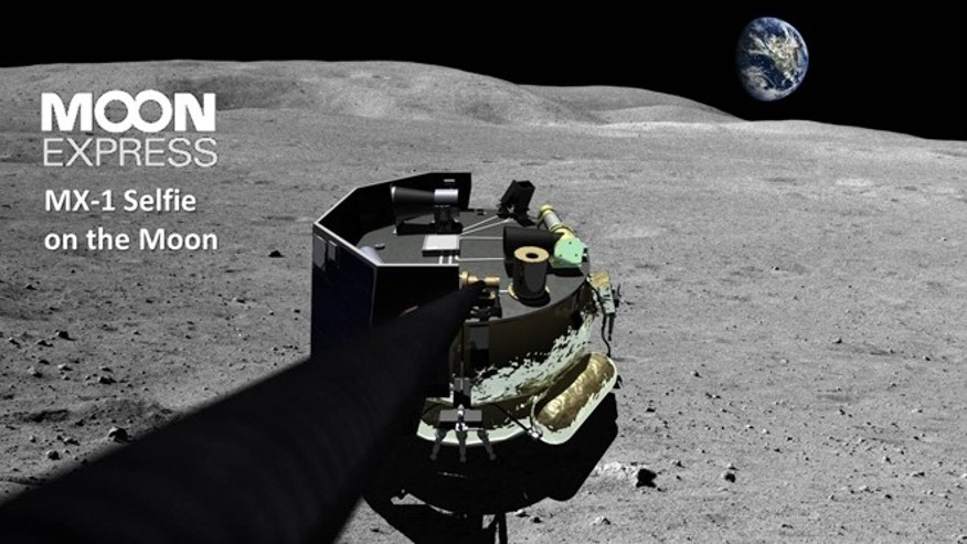"An artist's conception of the Moon Express MX-1 -- taking the first ""selfie"" on the moon."