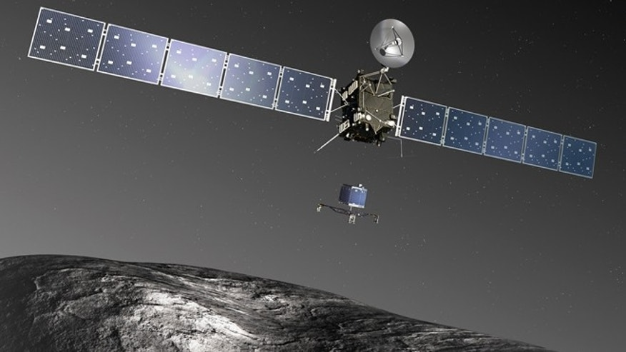 An artist's impression of the Rosetta orbiter deploying the Philae lander to comet 67P/ChuryumovGerasimenko. After an extensive mapping phase by the orbiter in AugustSeptember 2014, a landing site will be selected for Philae to conduct in situ measurements in November 2014.