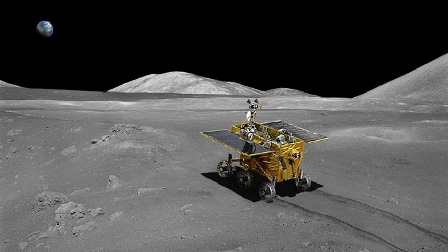 An artist&#39&#x3b;s conception of China&#39&#x3b;s Chang&#39&#x3b;e 3 robot on the moon.