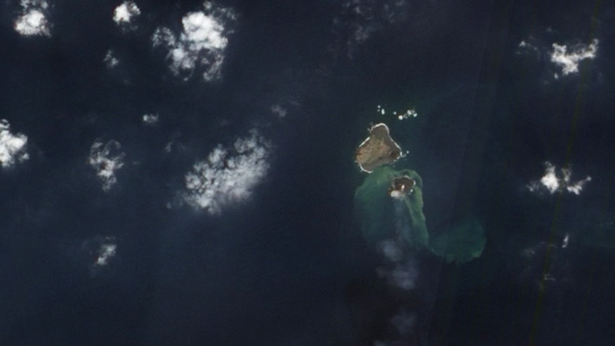 Dec. 8, 2013: NASA's Earth Observing-1 satellite captured this image of a new Japanese island. The water around the island is discolored by volcanic minerals and gases and by seafloor sediment stirred up by the ongoing volcanic eruption.