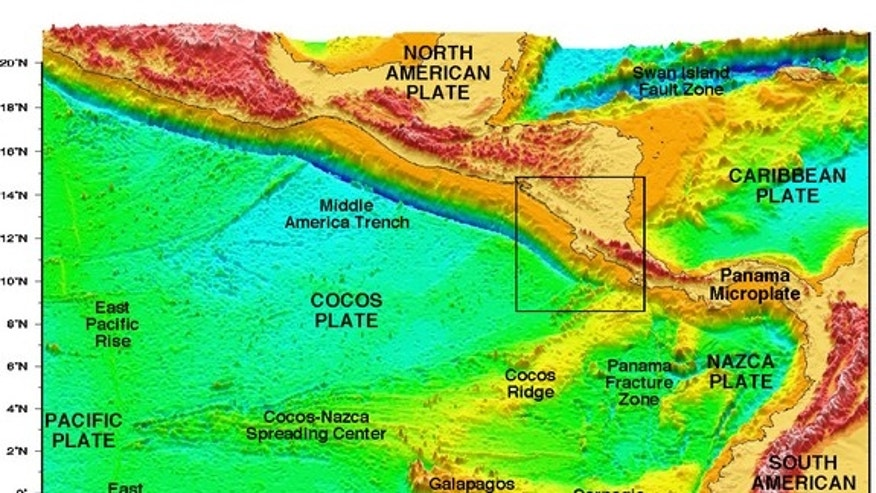 Digital elevation model of Central America and the Cocos, Nazca and Caribbean tectonic plates. The Middle America Trench marks where the Cocos Plate subducts beneath the Caribbean Plate.