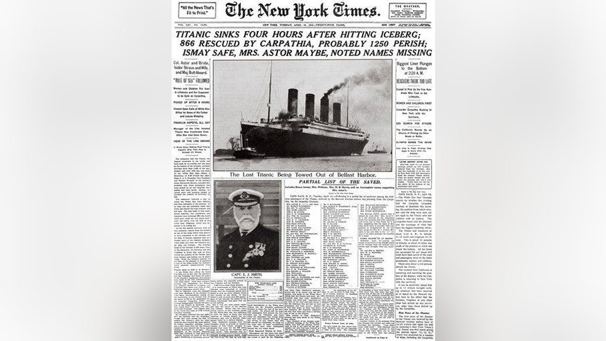 This image provided by the New York Times shows its April 16, 1912 front page coverage of the Titanic disaster.