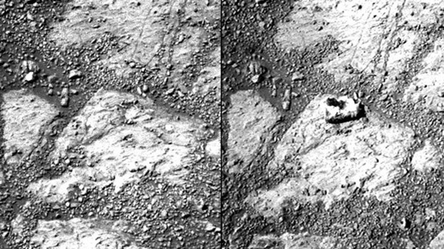 "A comparison of two raw Pancam photographs from sols 3528 and 3540 of Opportunity's mission (a sol is a Martian day). Notice the ""jelly doughnut""-sized rock in the center of the photograph to the right. Minor adjustments for brightness and cont"