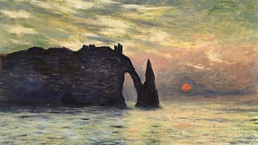 The Cliff, Éretat, Sunset, by Claude Monet