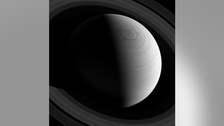 Saturn's odd hexagonal jet stream swirls in this amazing photo taken by the Cassini spacecraft. Image released Feb. 3, 2014.
