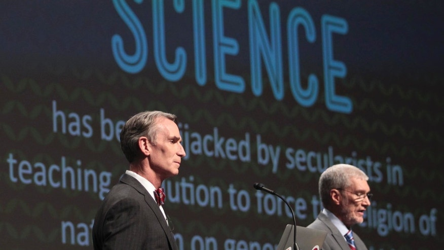 "Feb. 4, 2014: Creation Museum head Ken Ham, right, speaks during a debate on evolution with TV's ""Science Guy"" Bill Nye, at the Creation Museum in Petersburg, Ky."