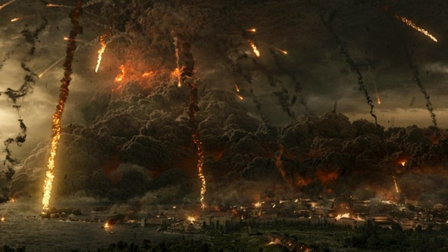 "Mt. Vesuvius explodes in the TriStar Pictures film ""Pompeii."""