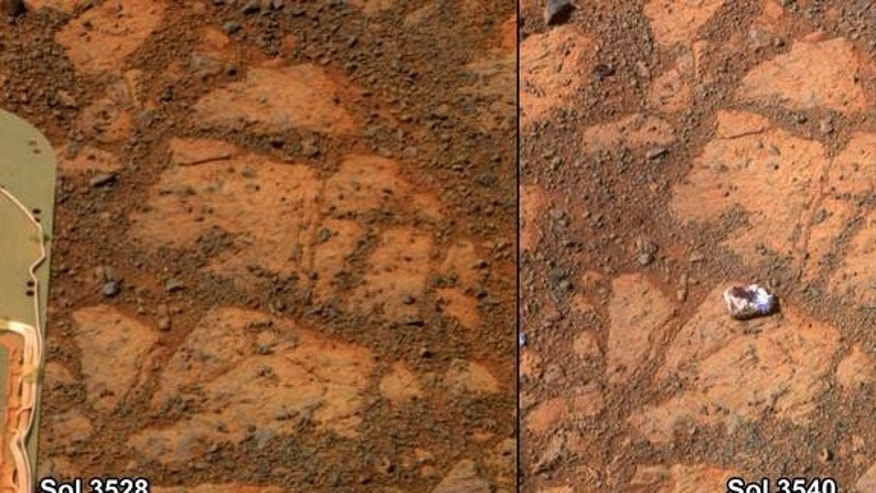 "This before-and-after pair of images of the same patch of ground in front of NASA's Mars Rover Opportunity 13 days apart documents the arrival of a strange, bright rock at the scene. The rock, called ""Pinnacle Island,"" is seen in the right imag"