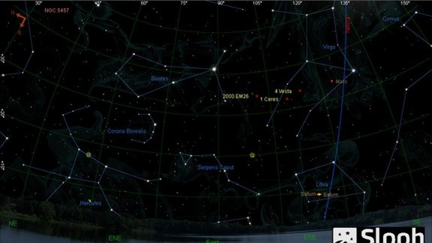 This graphic shows the location of the asteroid 2000 EM26 in the night sky on Feb. 17, 2014 during a live skywatching webcast by the online stargazing venture Slooh.