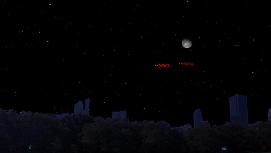 This sky map shows the location of Mars, the moon and star Spica in the late-night sky at 11:59 p.m. local time on Wednesday, Feb. 19, 2014 as seen from mid-northern latitudes.