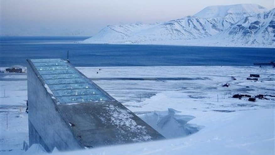 This is a Feb. 26, 2008 file photo showing the Svalbard Global Seed Vault near Longyearbyen in Svalbard, Norway.